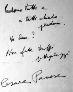 Nota de suicidio del autor, Cesare Pavese